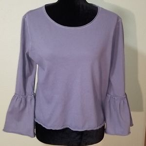 SO  blue-gray cropped tee bell sleeves Large
